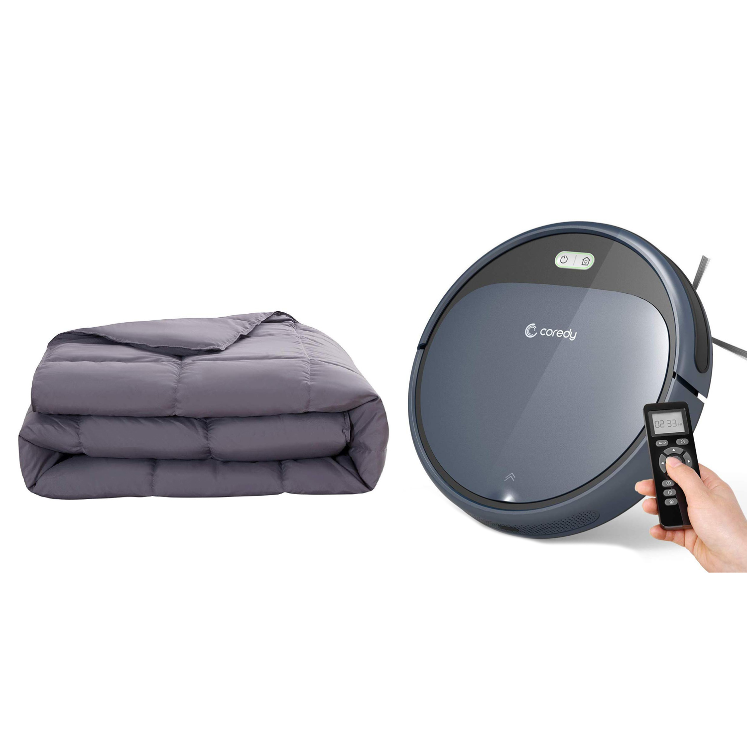 Royal Hotel Twin/Twin XL Comforter and Coredy Robot Vacuum Cleaner