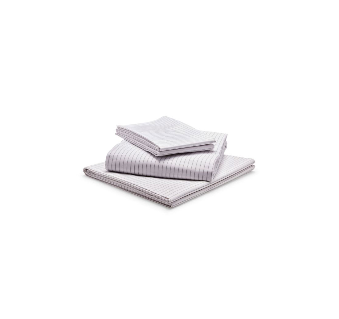 Riley Sateen Sheet Set in White Pinstripe