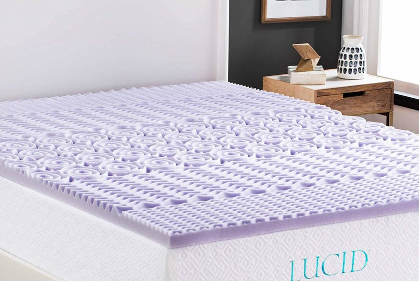 LUCID 2 Inch 5 Zone Lavender Memory Foam Mattress Topper