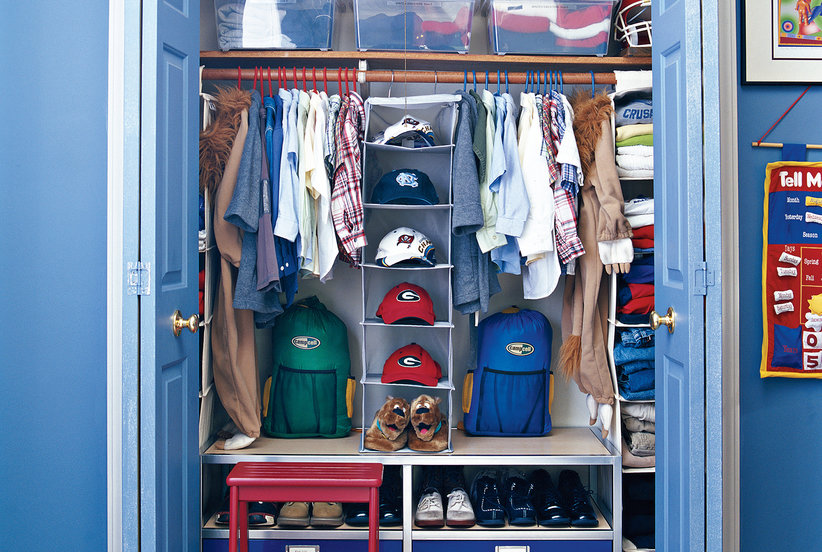 7 smart ways to organize your kid s closet real simple - Ways to organize shoes in a small space pict ...