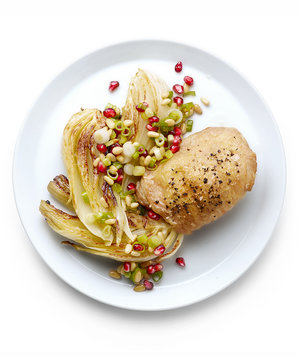 Roasted Chicken and Fennel With Pomegranate Seed Salsa