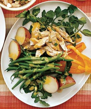 chicken-salad-green-beans-potatoes-peppers