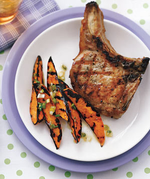 grilled-pork-chops-maple-syrup-sweet-potatoes