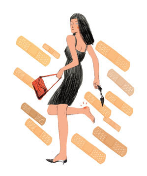 illustration-woman-blisters-band-aids