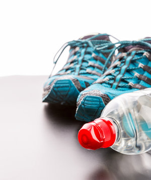 fitness-shoes-bottled-water