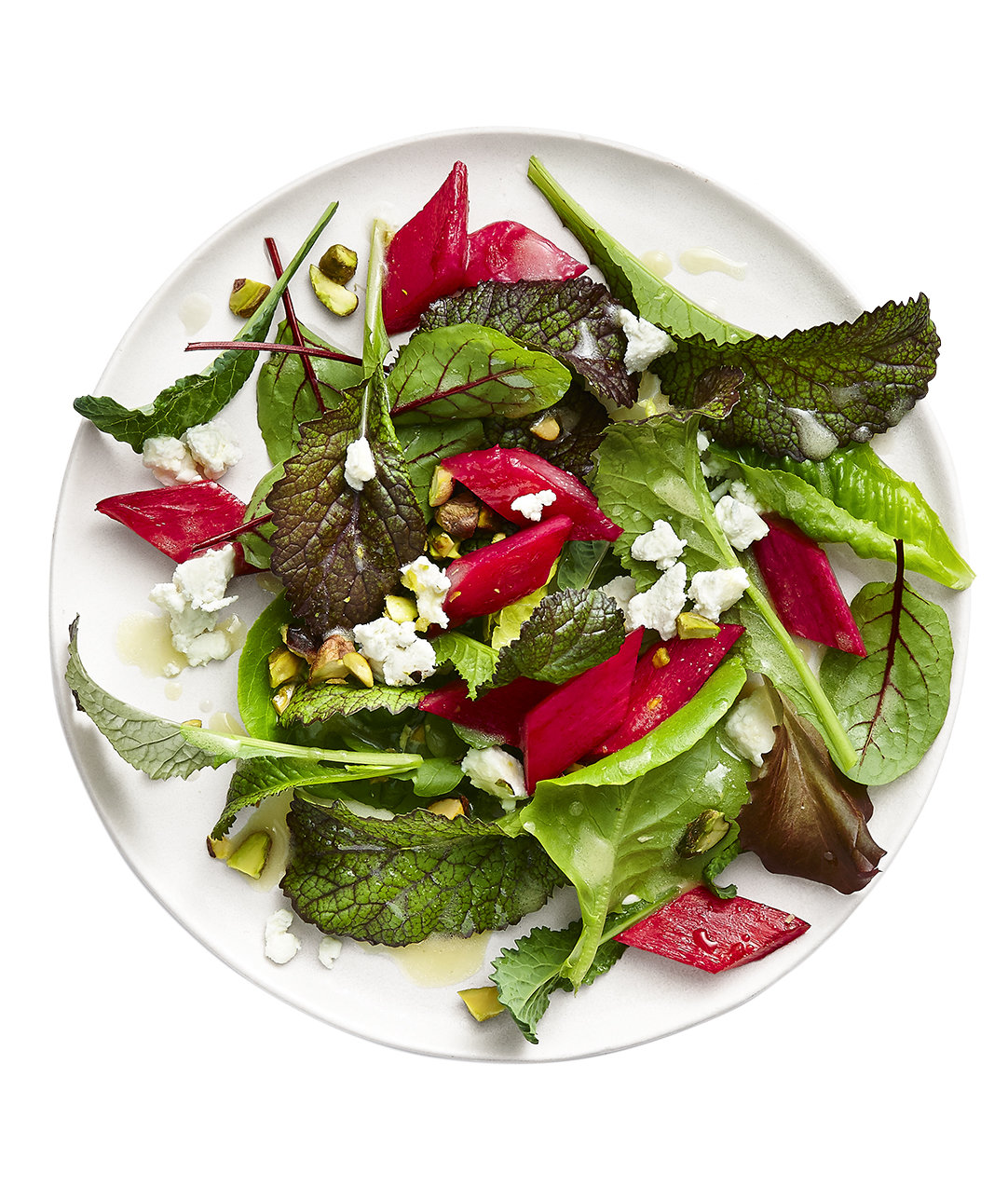 rhubarb-salad-goat-cheese-pistachios