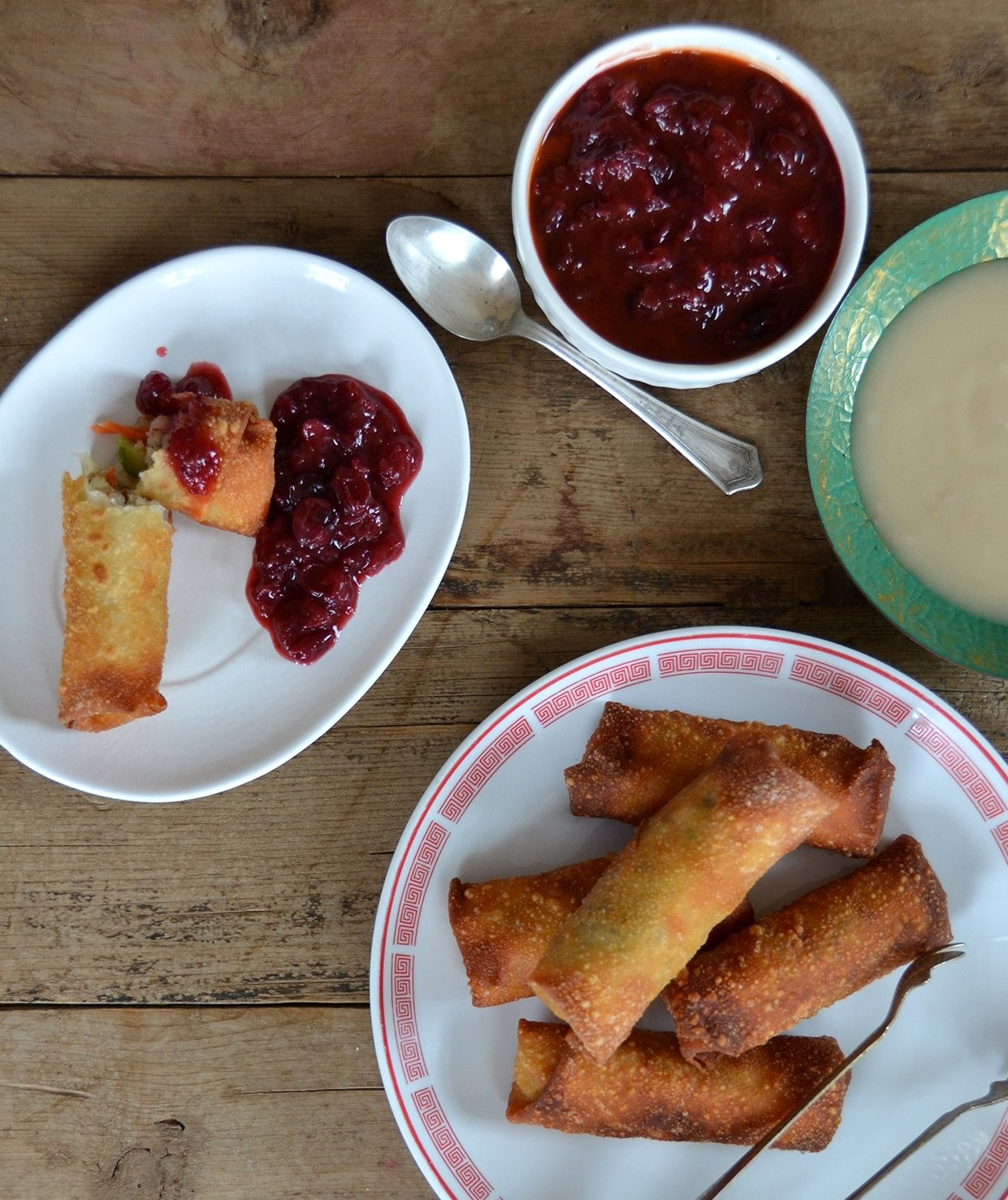 Thanksgiving Egg Rolls With Spicy Cranberry Dipping Sauce | Real ...