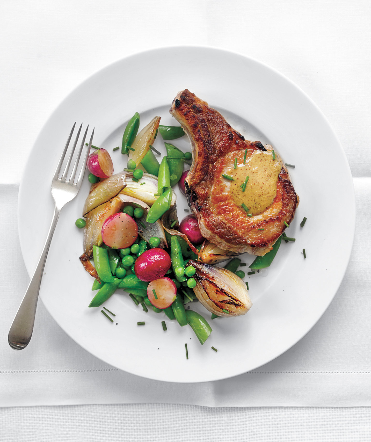 pork-chops-spring-vegetables-mustardy-gravy