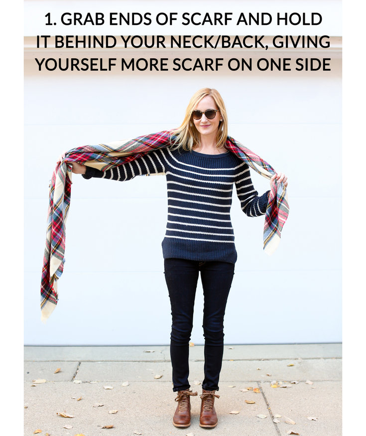11 tips for how to wear and tie a blanket scarf real simple how to tie a blanket scarf step 1 ccuart Images