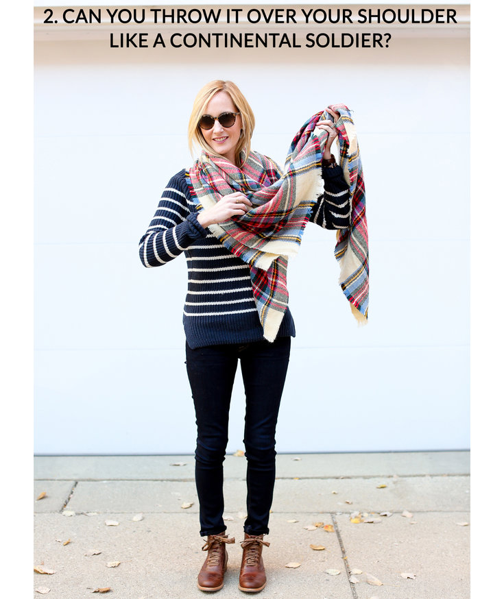 11 tips for how to wear and tie a blanket scarf real simple how to tie a blanket scarf step 2 ccuart Images